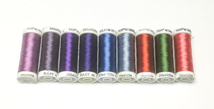 A selection of light, dark and medium color value Sulky 40 weight rayon thread; a tutorial on thread painting