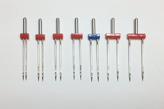 A variety of SCHMETZ twin needles appropriate for construction and quilting