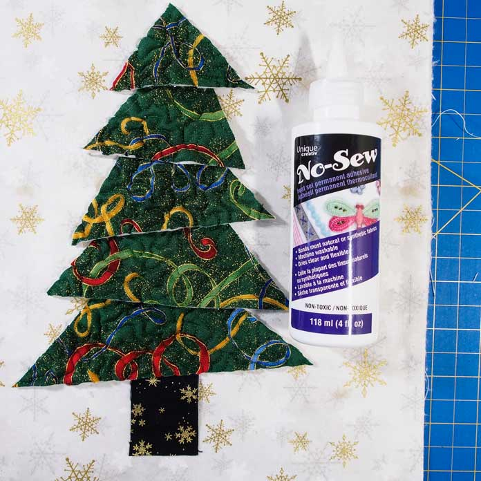 No-Sew fabric glue to glue the tree pieces in place