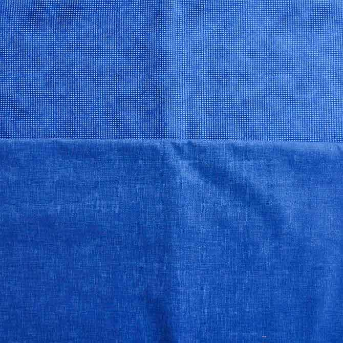 The two blue background fabrics