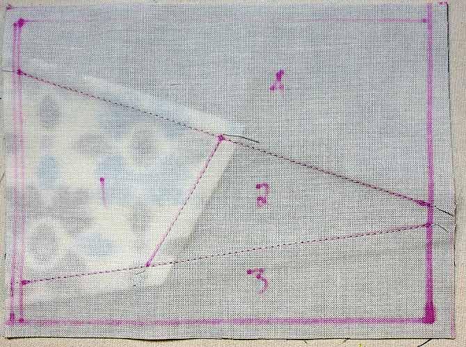 Stitching & seams on back of block