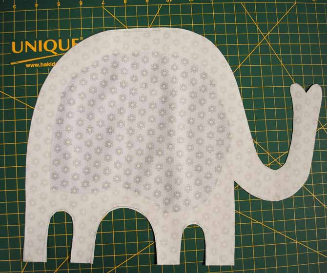 Back side of the elephant applique