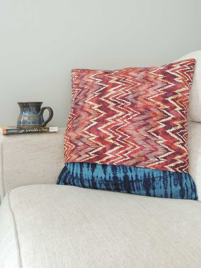 Reverse side of quilted cushion cover