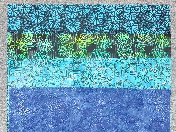 4 fat quarters from Banyan Batiks Visual sound in the blue/green colorway