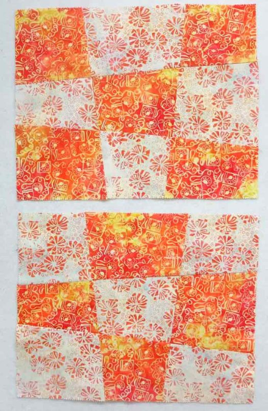 Modern nine patch blocks using 2 fat quarters of Banyan Batiks Visual Sound