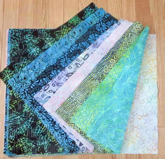 Banyan Batiks Visual Sound in the blue green colorway