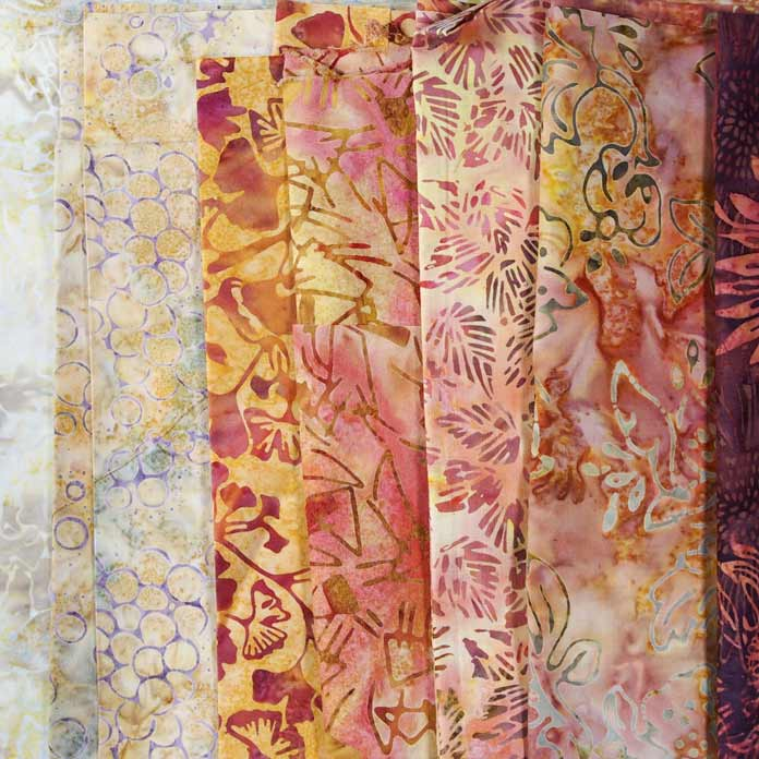 Gorgeous array of batiks in subtle autumn colors