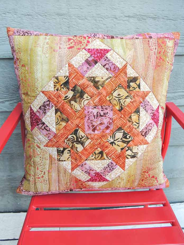 Batik star quilted cushion cover