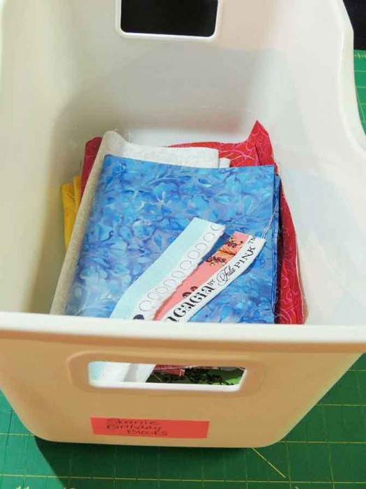 Keep fabrics for an ongoing project together in one bin