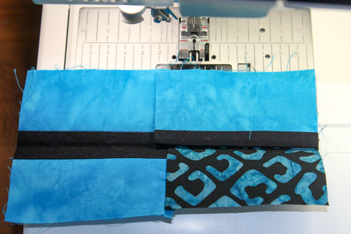 Block A Step 2 ii: aligning to ensure strip remains centered