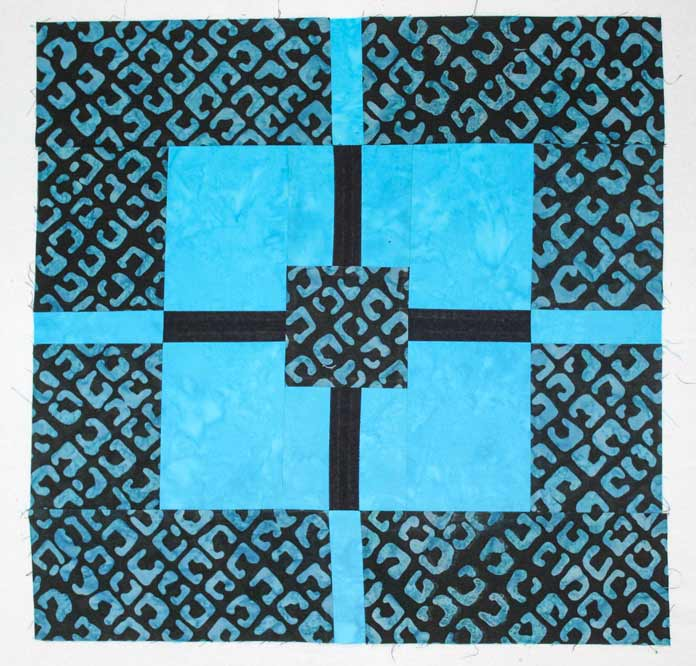 "How to make this block for the Deep Waters quilt pattern size 75"" x 75"" made using Banyan Batiks Color Blocking collection"