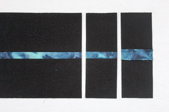 Stitch two F strips along an A strip.