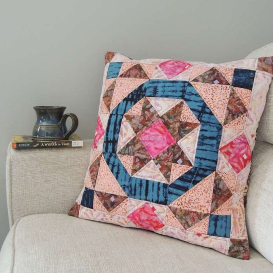 Batik boho inspired quilted cushion cover