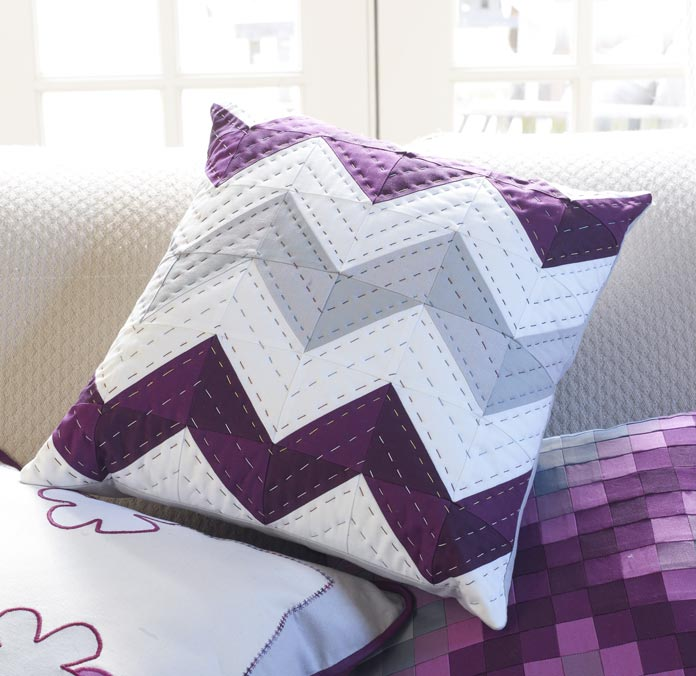 Chevron Pillow quilted using the zigzag pattern as a guide for big stitches