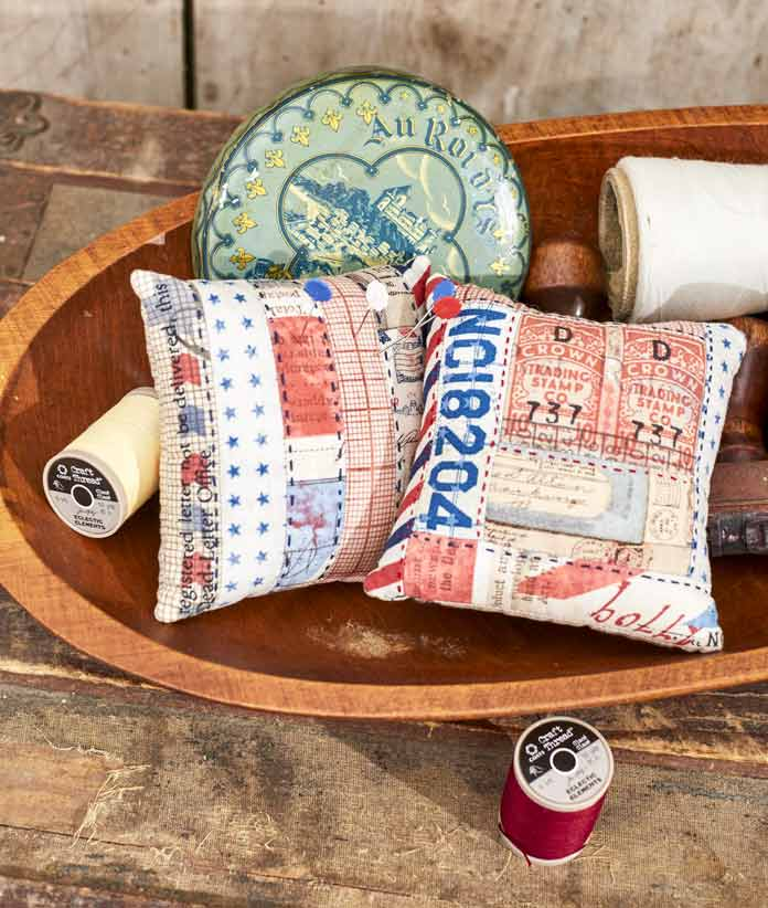 Strips 'n Stitches and Log Cabin Pincushion perfect for practicing big stitches hand quilting