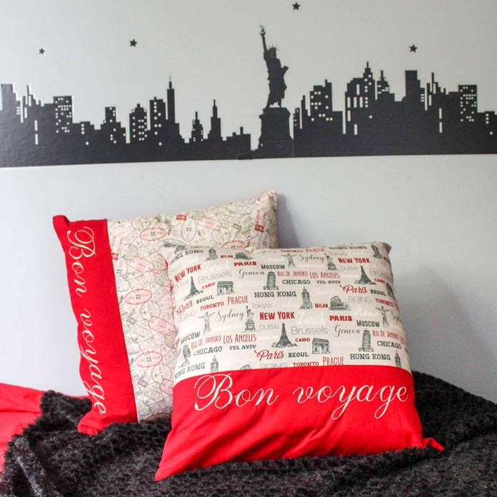 Bon Voyage cushions make great gifts and are easy to make