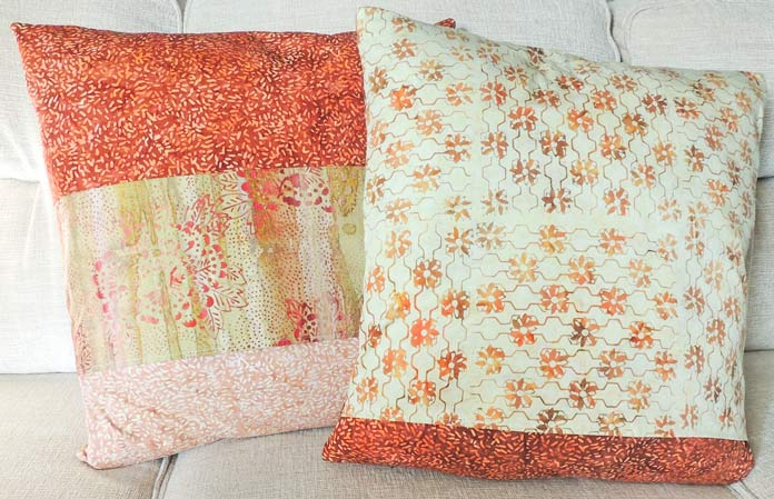 Back panels of both quilted batik cushion covers.