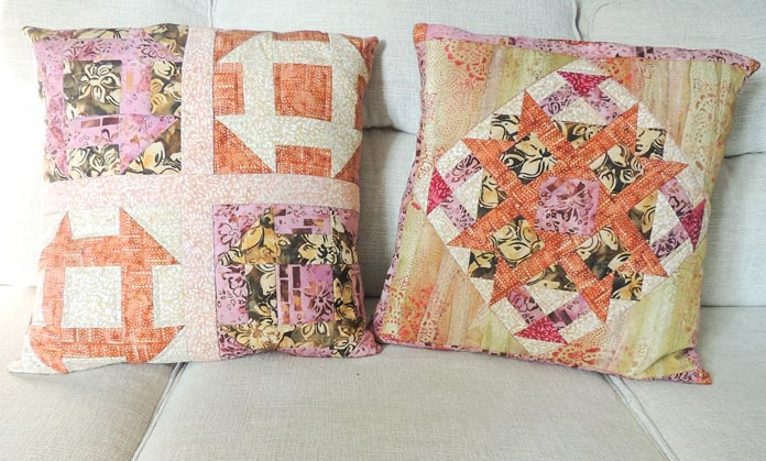 Two batik quilted cushion covers