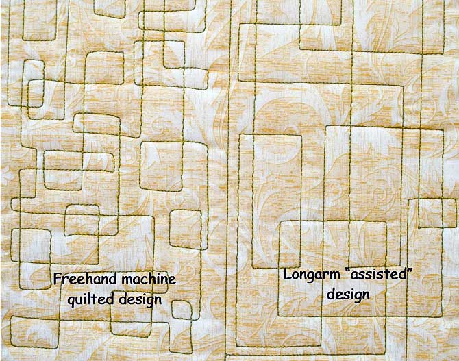 Machine quilted boxes and rectangles using Spagetti thread from WonderFil.