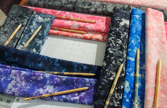 Broken Glass batiks with matching pencil crayons.