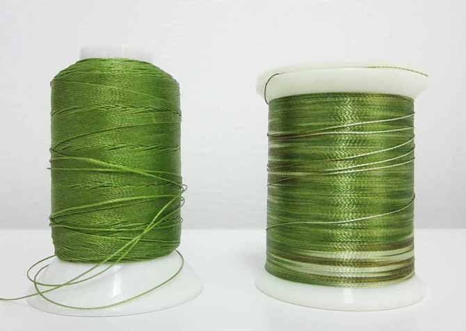 Heavy-weight cotton thread on the left. Light-weight polyester thread on the right.