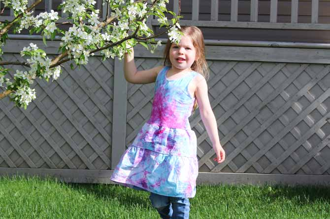 I sew a gathered skirt to the bottom of a hand dyed undershirt for a lovely painted summer dress.