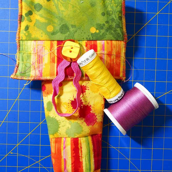 Auditioning Sulky Cotton thread 12 weight in pink and yellow to sew buttons on scissor holder