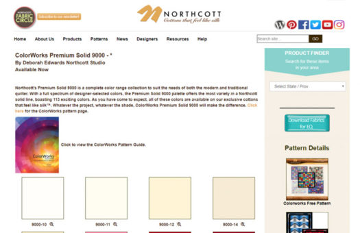 Screenshot from Northcott website showing button to download digital fabric files