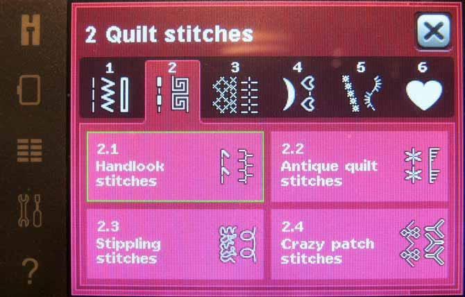 The stitches on the creative 3.0 are organized into categories. There are several types of quilting stitches built in to choose from for your project.