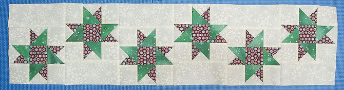 Six stars sewn together to make center