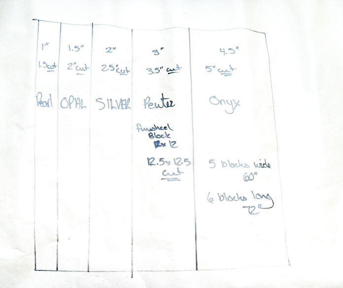 Use this quick sketch of the Rail Fence block as your cheat sheet when cutting and sewing the beautiful Banyan Classics fabrics to make your quick and easy quilt.