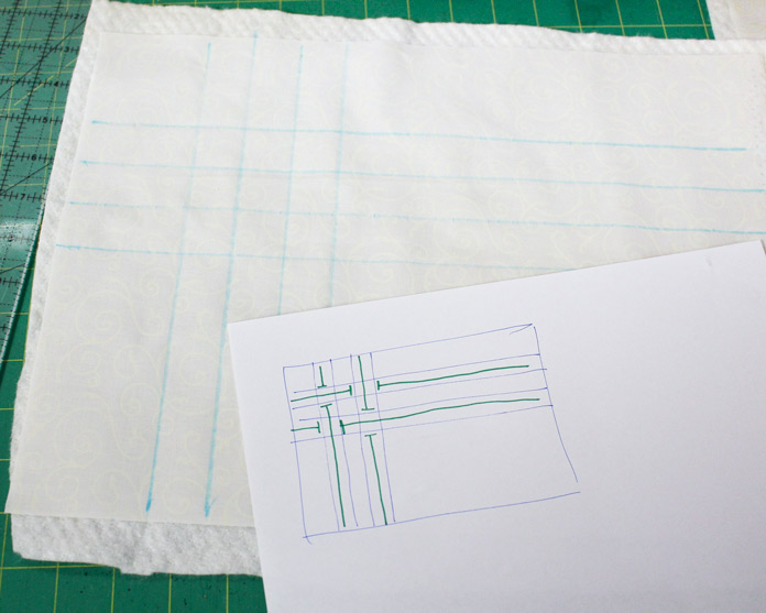 Draw ribbon lines on right side of fabric.