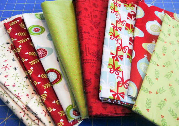 Christmas fabrics for the wallhanging