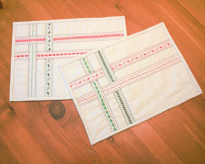 Christmas thread pack creates ribbon effect on placemats.