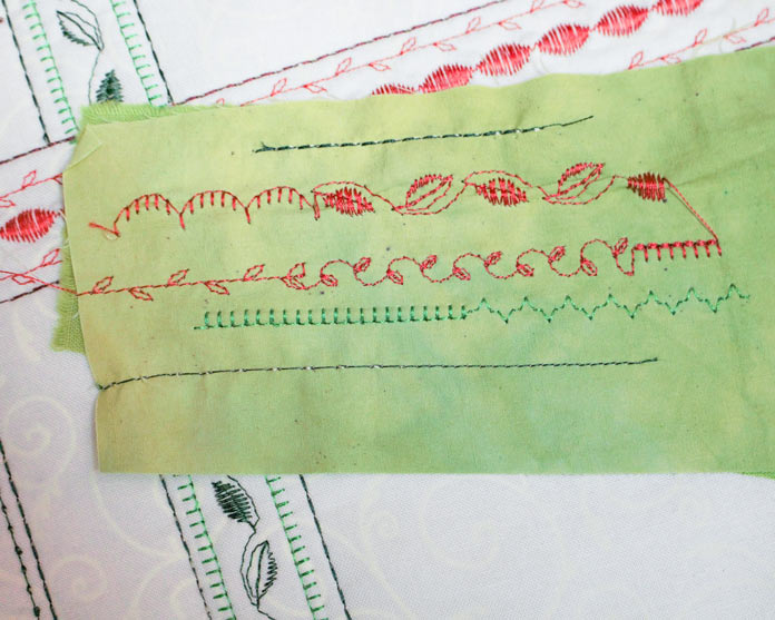 Use scraps of fabric to test decorative stitches.