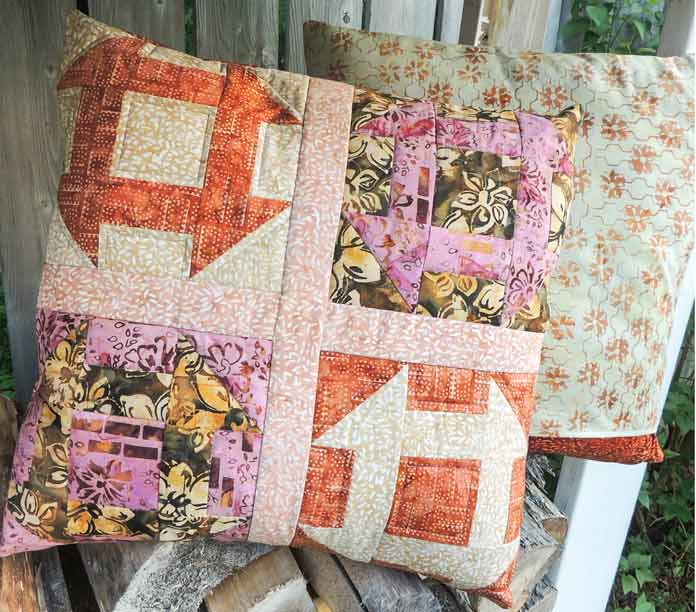 Mary Batik churn dash quilted cushion cover