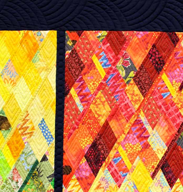 Detail of the quilting of Remembering Sochi