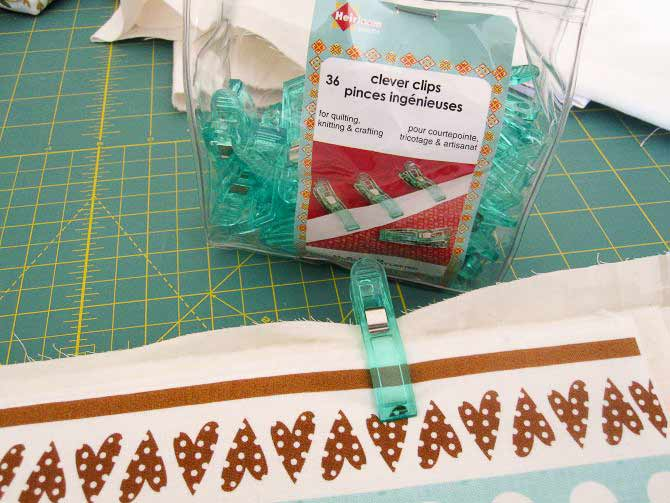 Use Clever Clips to keep all the parts of the baskets together when you are sewing more than one.