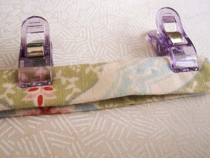 Clever Clips will keep the patchwork strap together in preparation for the top stitching of both edges.