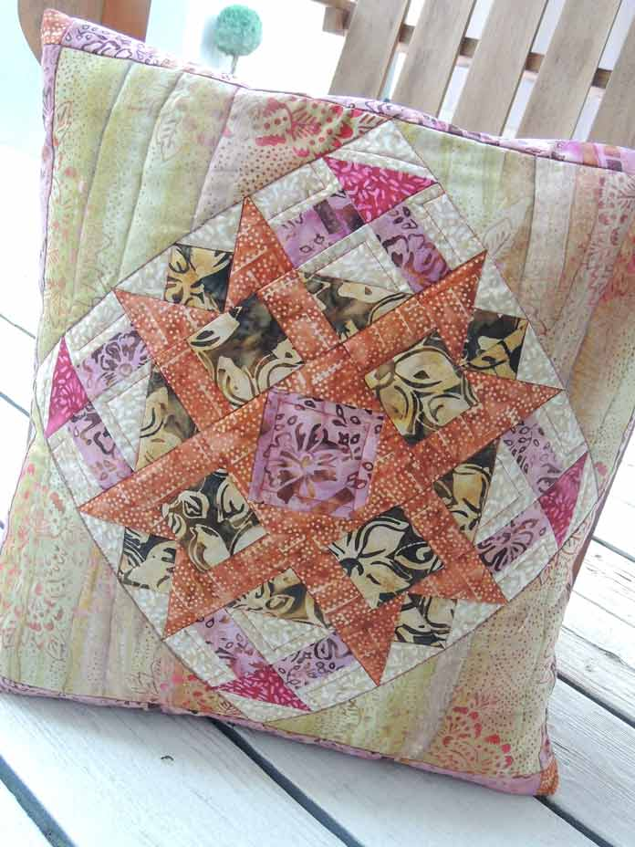 Quilted Mary Batiks cushion cover