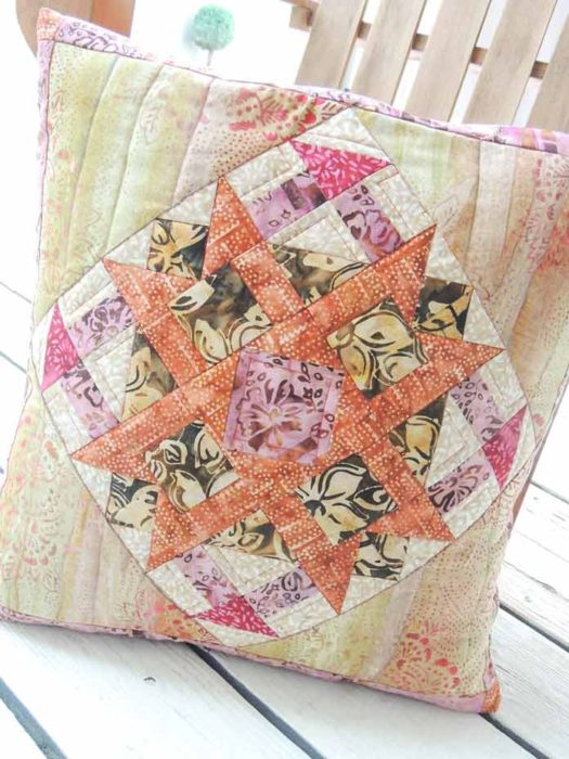 This week's quilted cushion cover pattern using the newest batik, Mary, and Ketan both of Banyan Batiks.