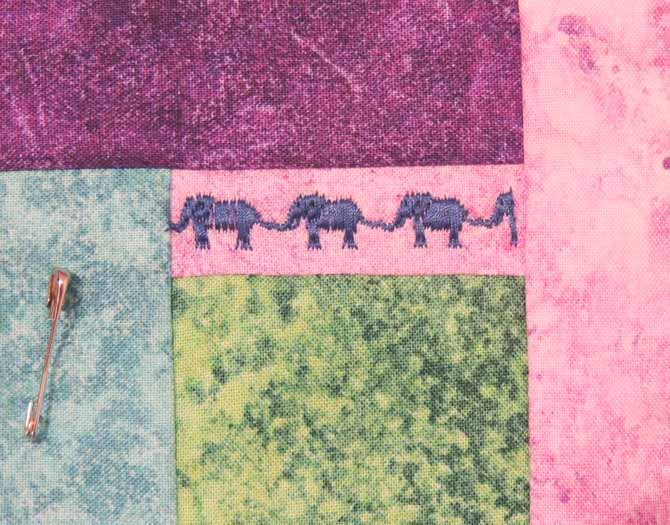 Closeup of elephants decorative stitch Performance 5.2