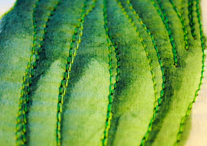 Closeup of machine stitching on the leaves