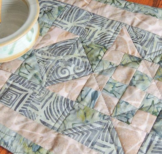 Close up of quilted table runner