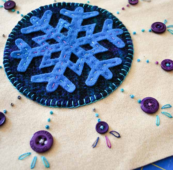 Closeup of the embroidery stitches and wool applique using the Eleganza threads