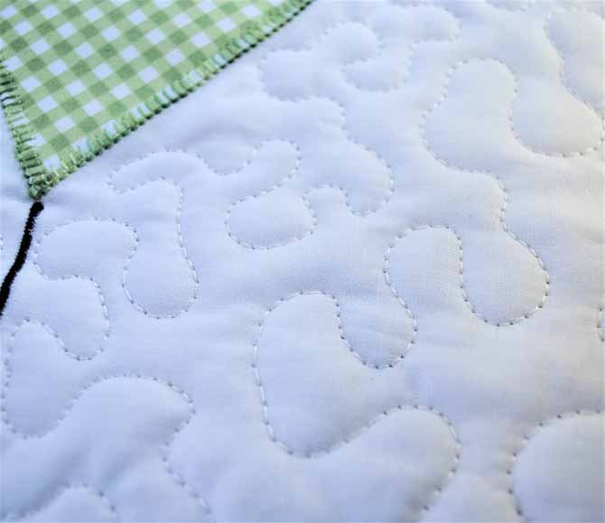 A close up photo of the free motion machine quilting done with the Brother NQ900 sewing machine.