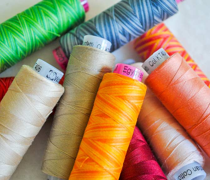 Closeup of the Tutti and Konfetti threads