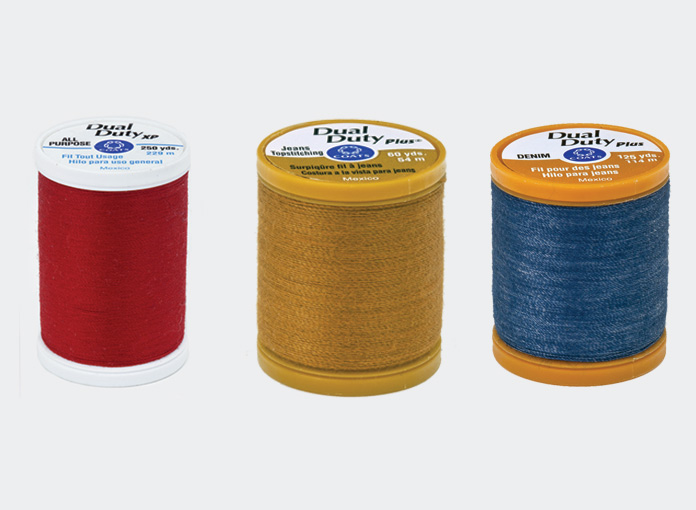 All the thread you need for sewing with denim from Coats Dual Duty XP and Plus collections: All Purpose, Jean Topstitching, and Denim threads