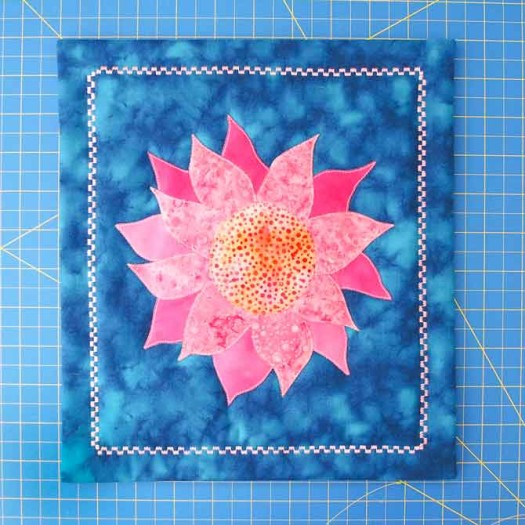 Facing complete on pink dahlia quilt - a dash of spring color