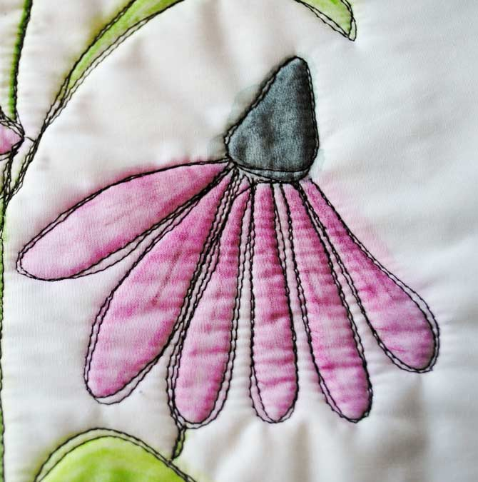 Coneflowers made with freehand stitching and Inktense pencils